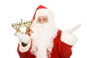 santa claus holding Jewish menorah, Surviving the holidays with simple strategy