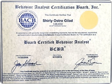 Board Certified Behavior Analyst Certification Penn State, Shirly Gilad, founder of Integrative Hypnotherapy Boca Raton
