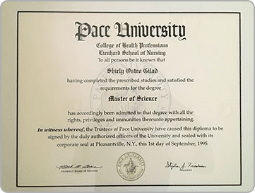 Family Nurse Practitioner Degree, Pace University New York - Shirly Gilad, founder of Integrative Hypnotherapy Boca Raton