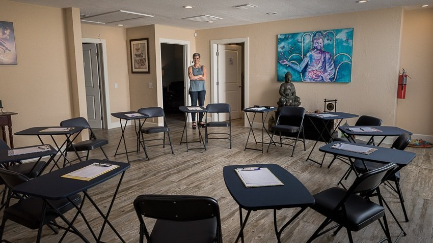 Shirly Gilad in her group therapy room, caregiver burnout solutions, a mindfulness approach